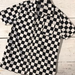 💥3/$25 Boys Black White Checker Button Up Shirt 8